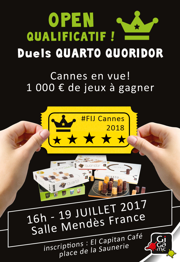 Open Qualificatif de Quarto Quoridor ! 19 juillet 2017 au FLIP de Parthenay