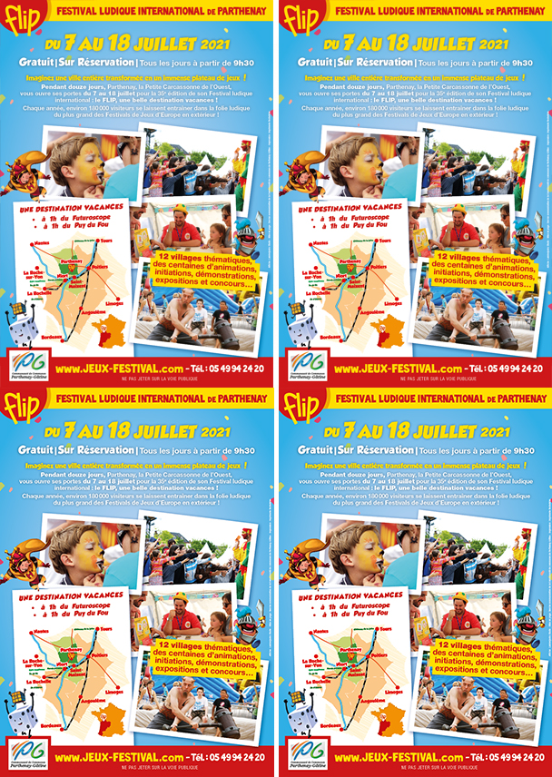 Double flyer pour impression de communication à propos du Festival Ludique International de Parthenay